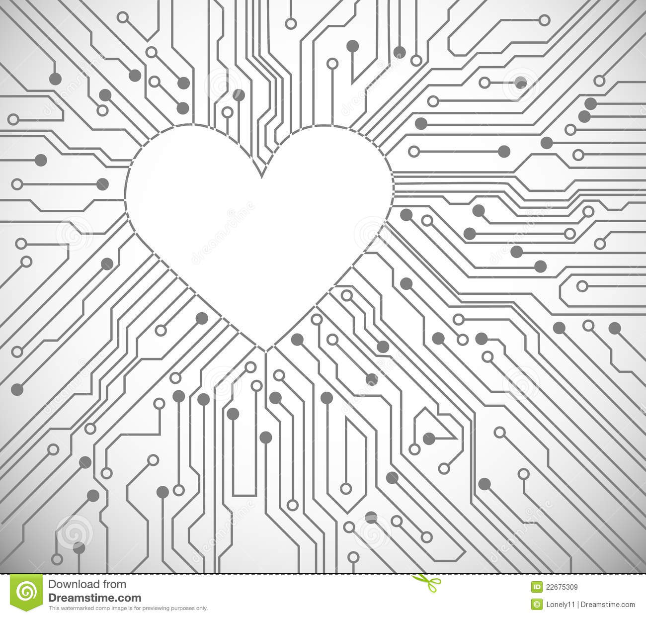heart from circuit stock vector  image of macro  chip