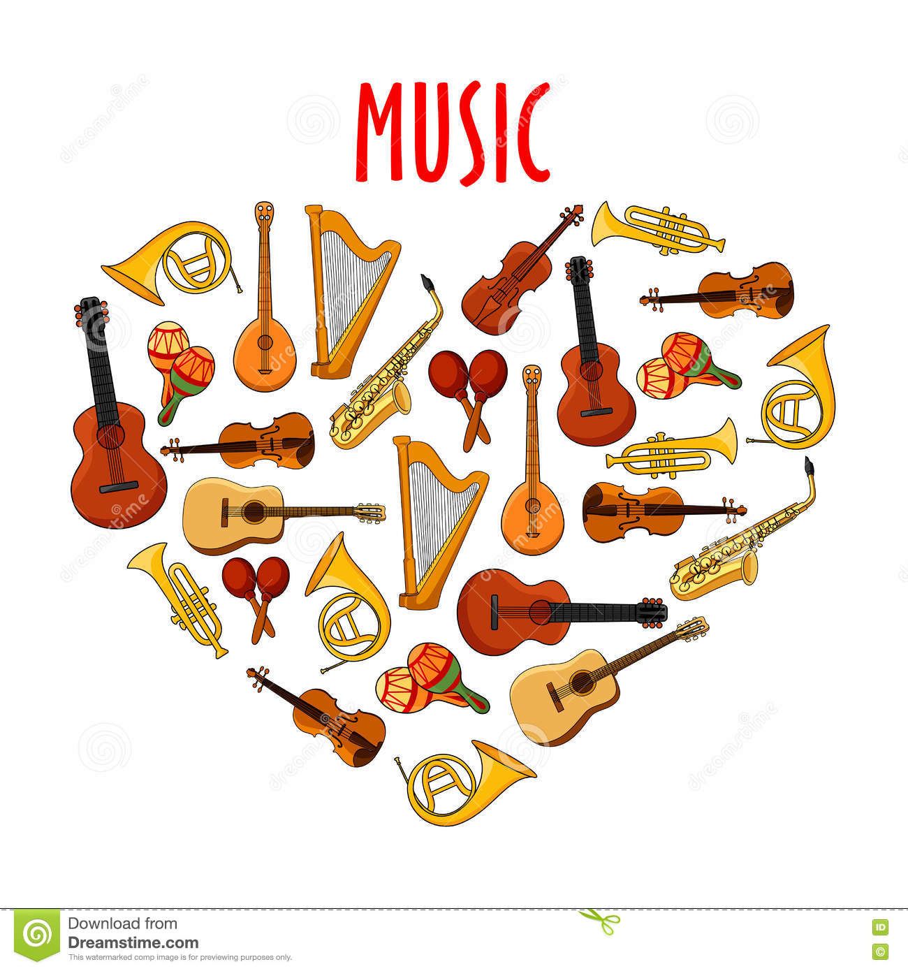 Heart With Classical Musical Instruments Symbol Stock Vector ...