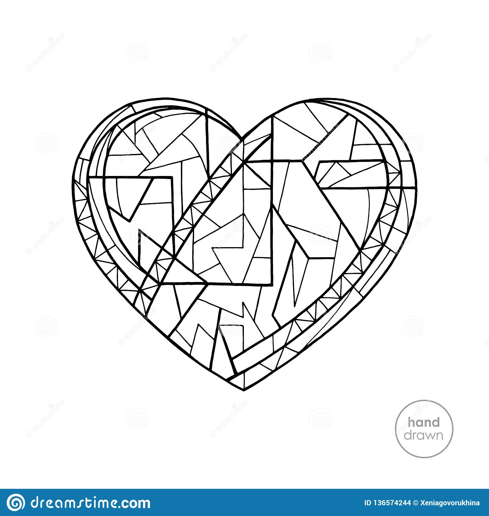 Heart Coloring Book. Hand Drawn Abstract Love Holidays ...
