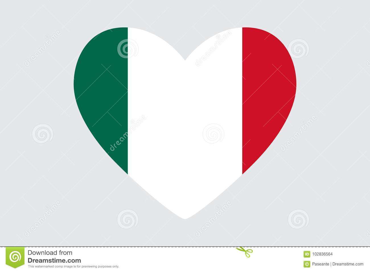 heart in colors of the mexico flag stock illustration