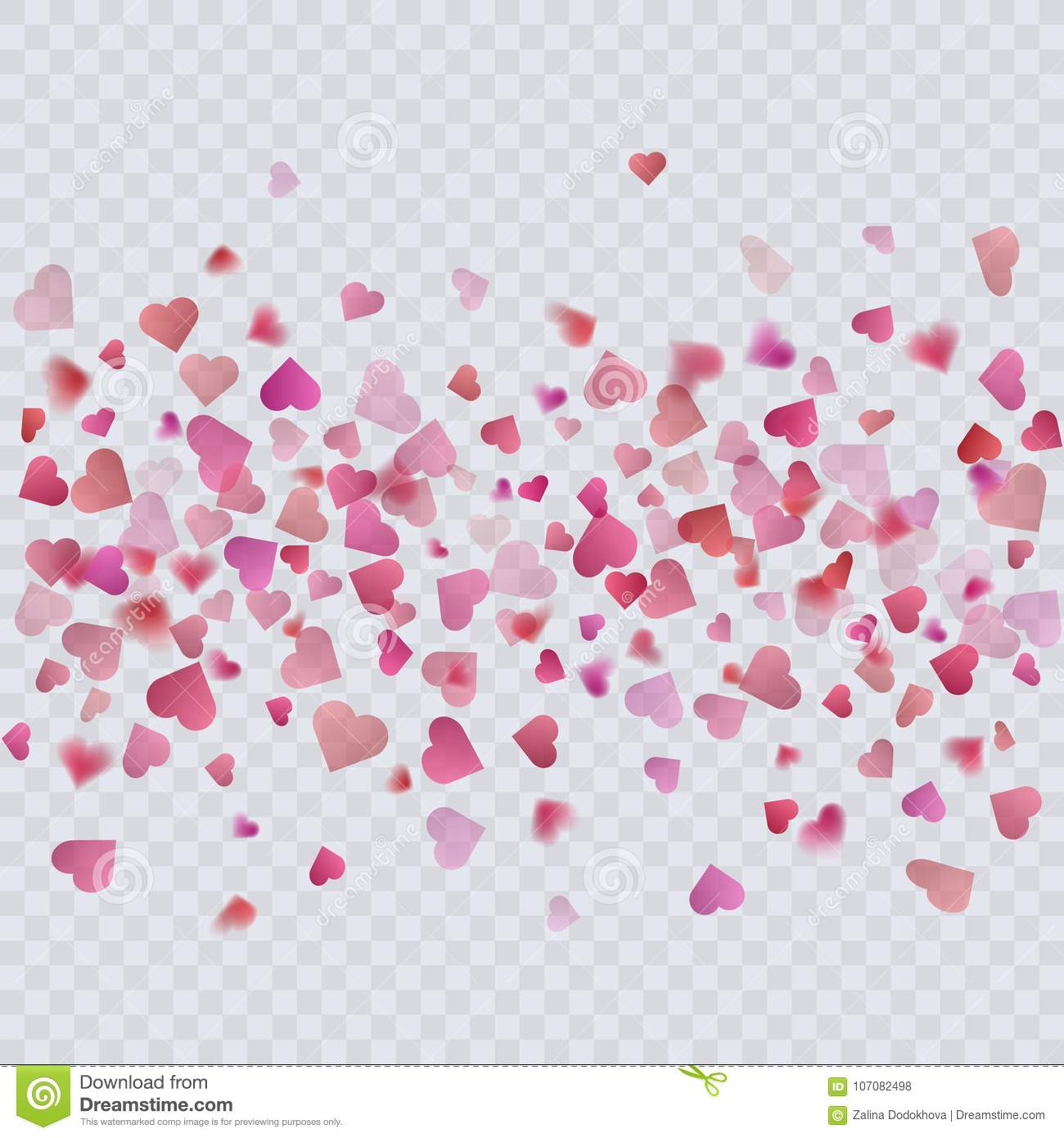 Heart Confetti On Transparent Background Decoration For Your