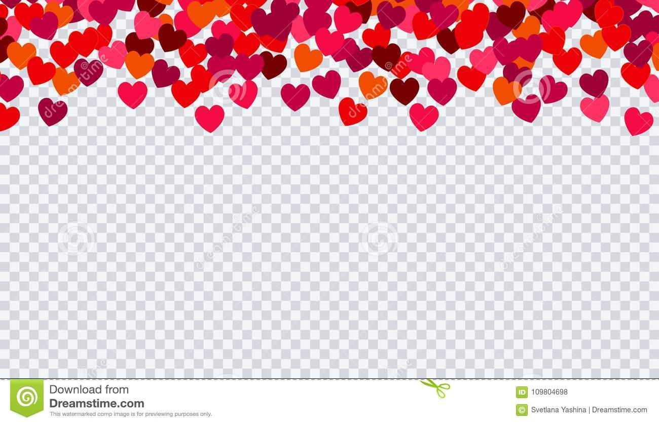 Heart Confetti For Valentines Day On Transparent Background Stock