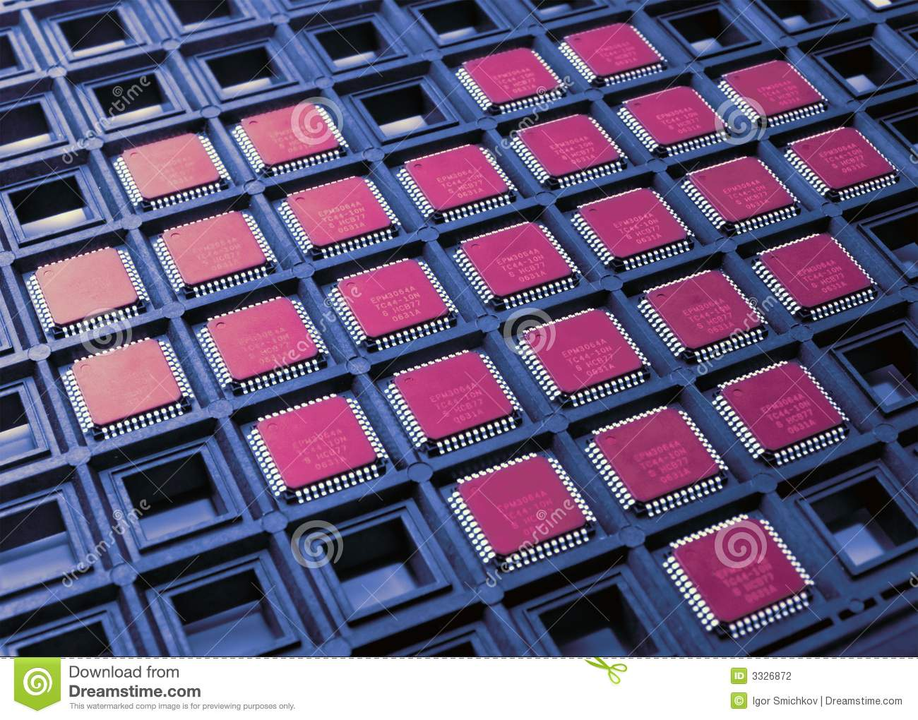Heart from cpu chips stock photo  Image of cells, background