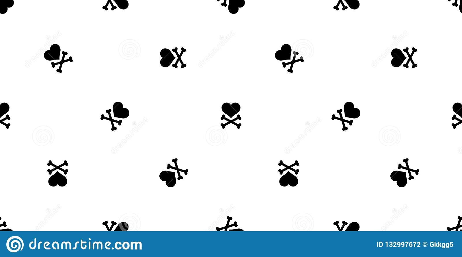 Heart Cross Bone Seamless Pattern Valentine Halloween Isolated