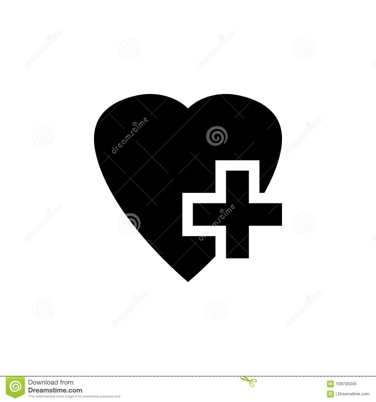 heart with a cross vector icon stock vector illustration of