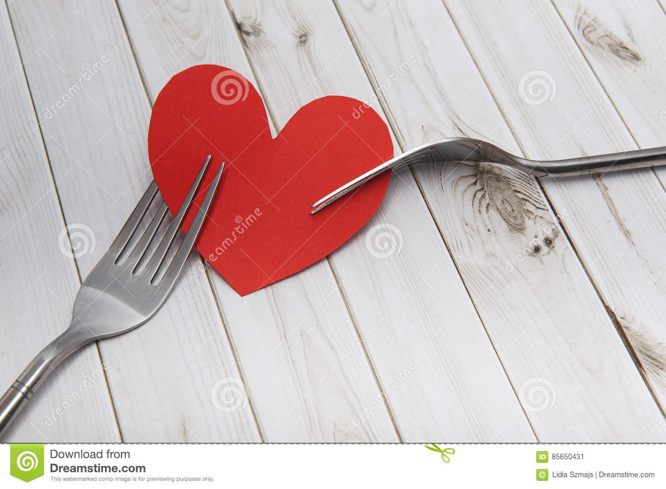 Heart And Cutlery On A Wooden Background Bright Boards Valentines