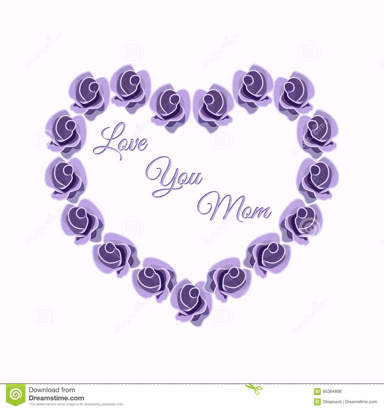 Heart Design Of Roses Greeting Card Valentine Card For Mom Vector