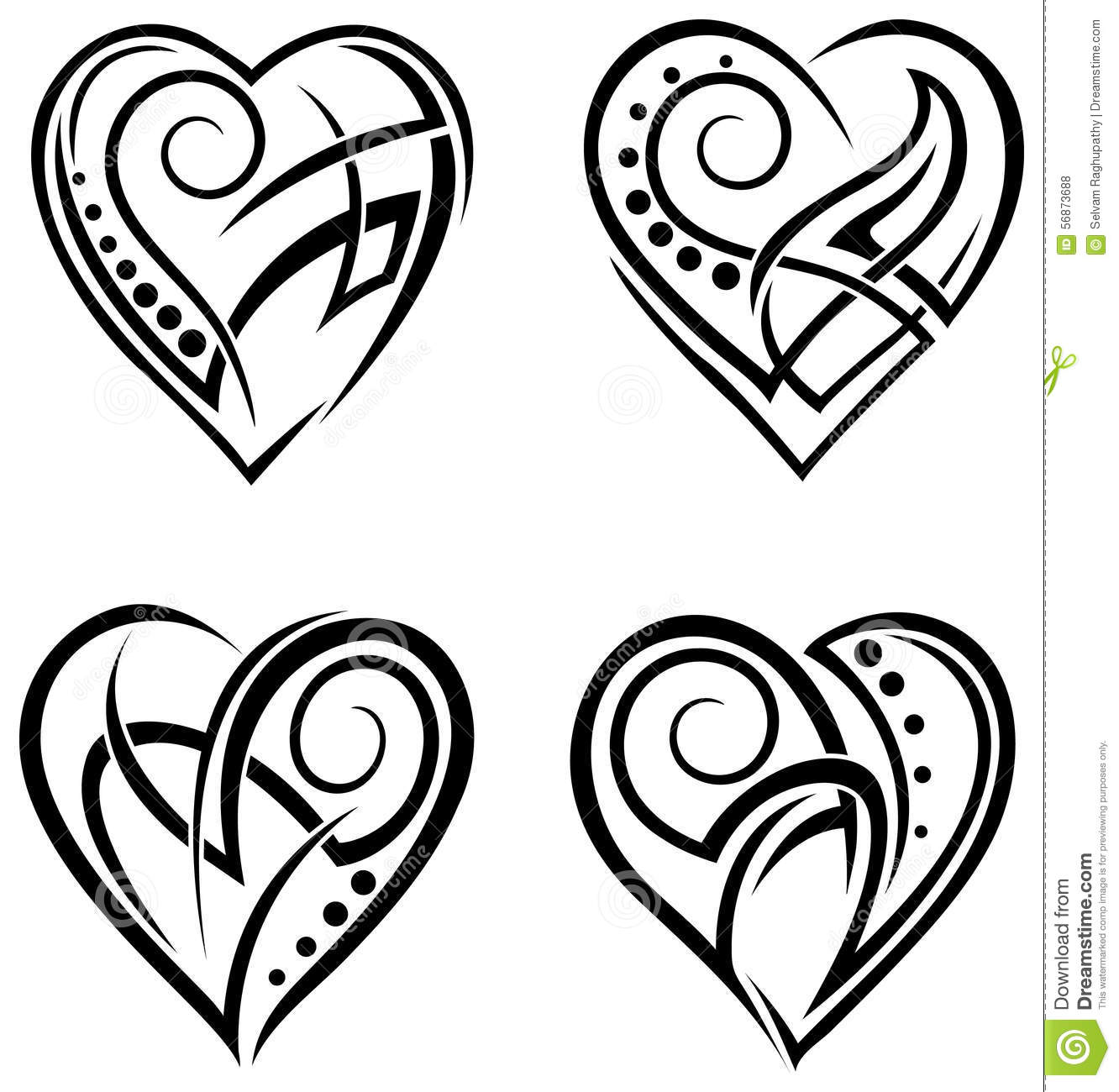 Heart Tattoo Line Drawing : Heart design tattoo set stock vector illustration of
