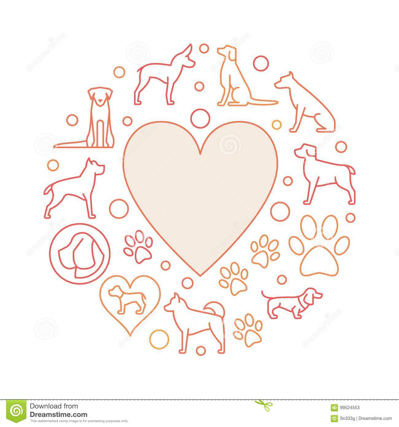 Heart with dog icons round illustration