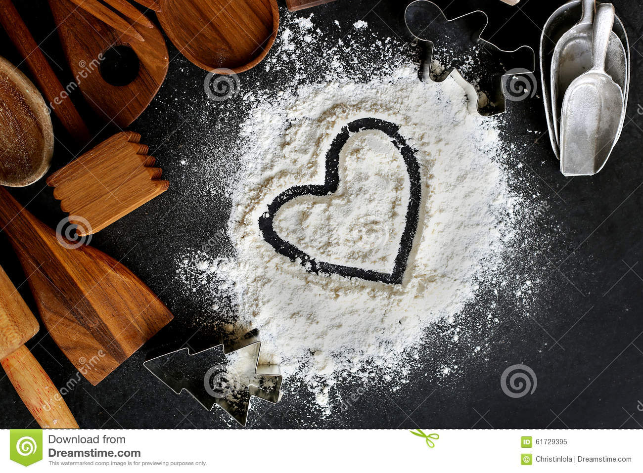 Heart Drawn In Baking Flour With Baking Supplies Border