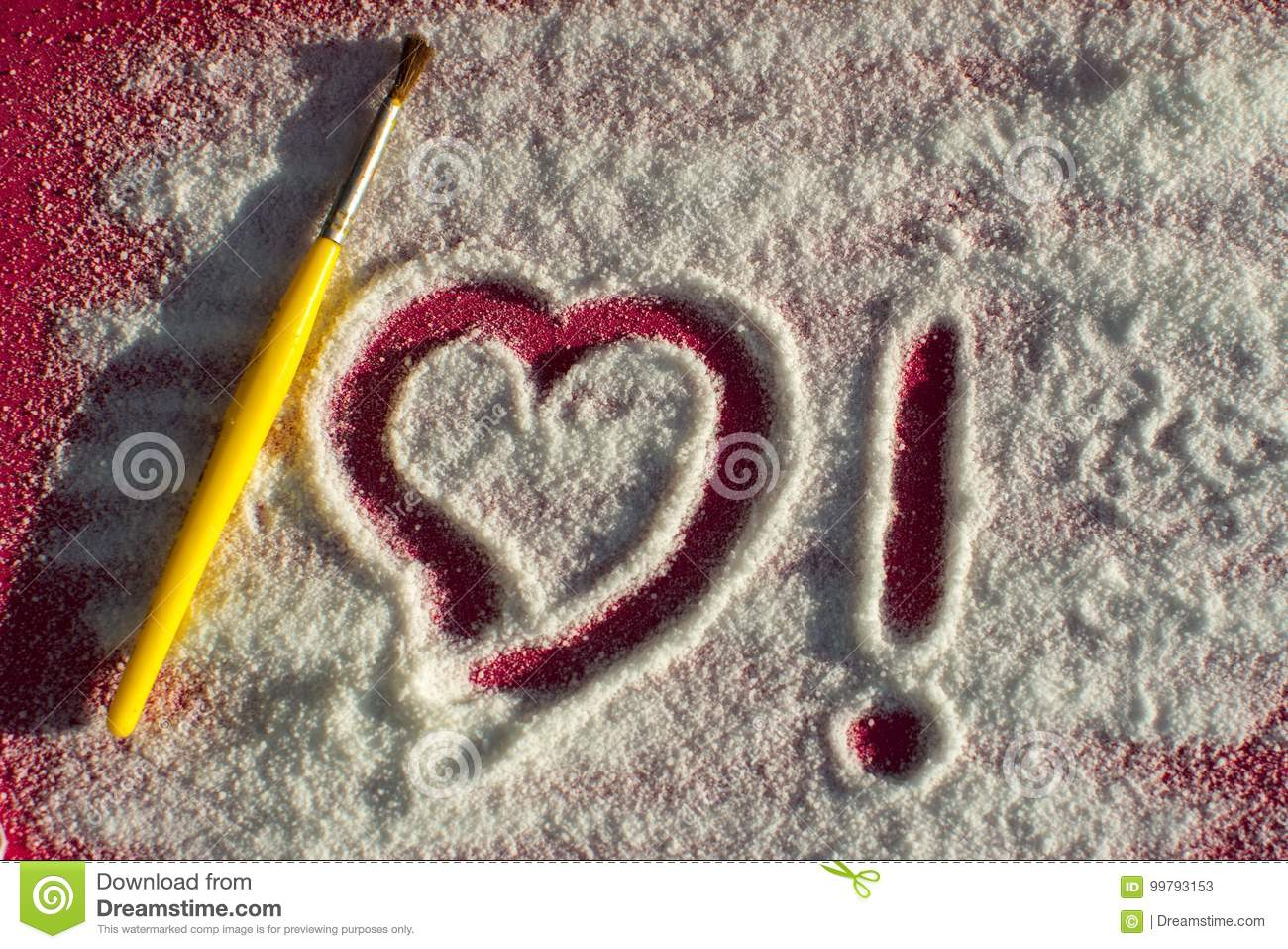 Drawing Love In Sugar Stock Image Image Of Sugar Date 99793153