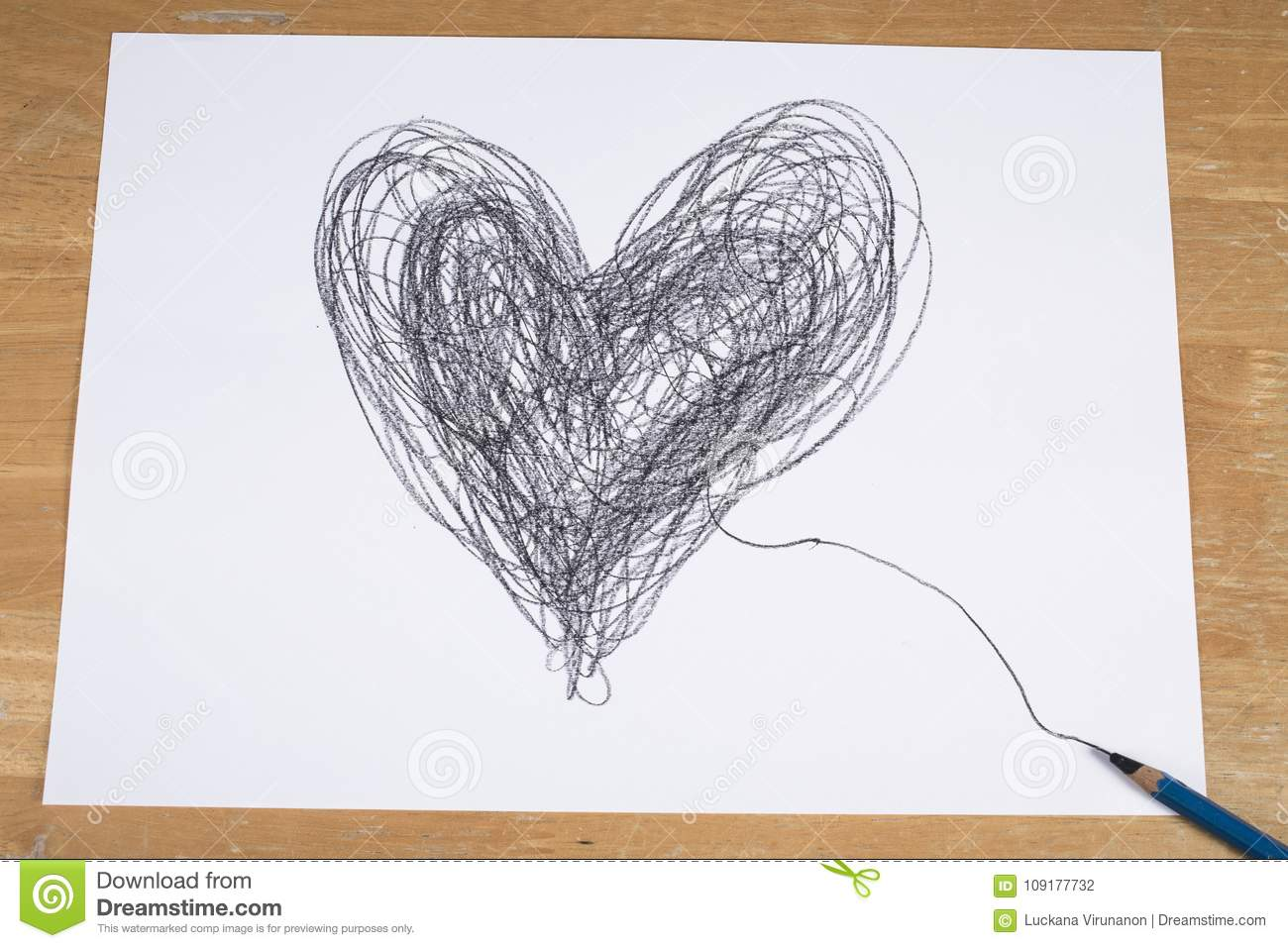 Heart Drawn By Pencil On Paper Sheet Stock Photo Image Of