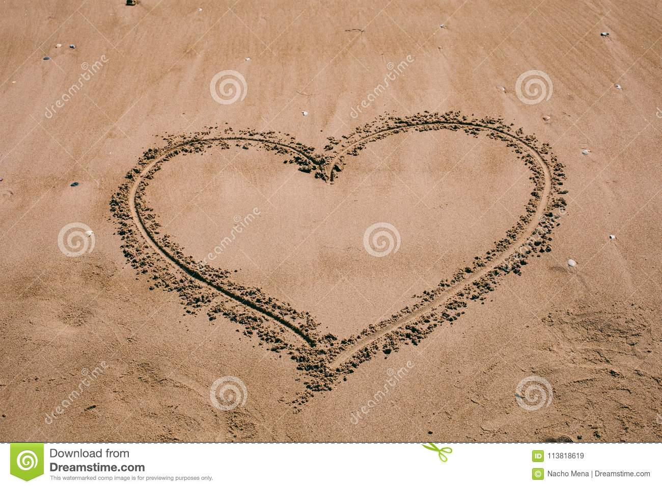 Heart Drawn In The Sand Beach Background With Heart Drawing Heart