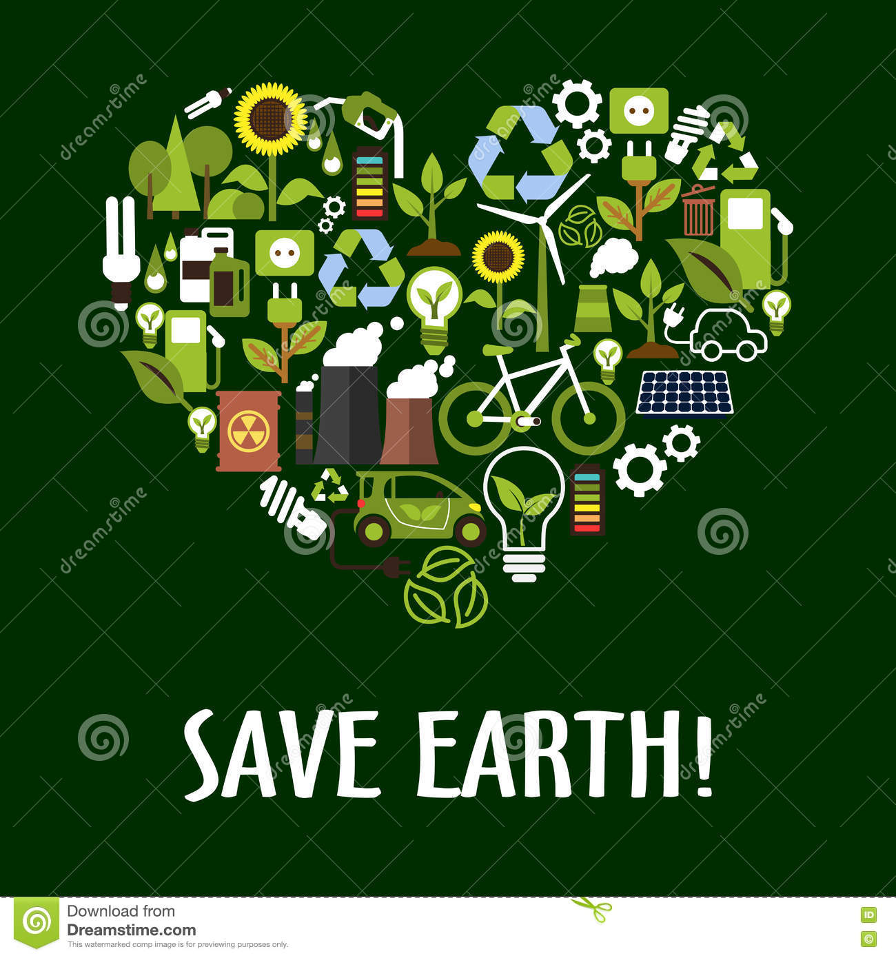 Heart With Ecology Saving Energy Recycling Icons Stock