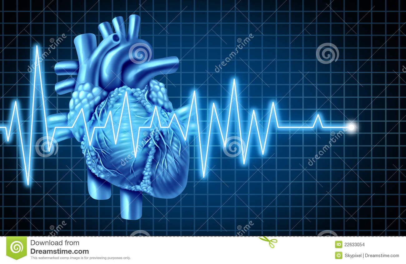 with electrocardiogram of a human heart representing the heartbeat ...