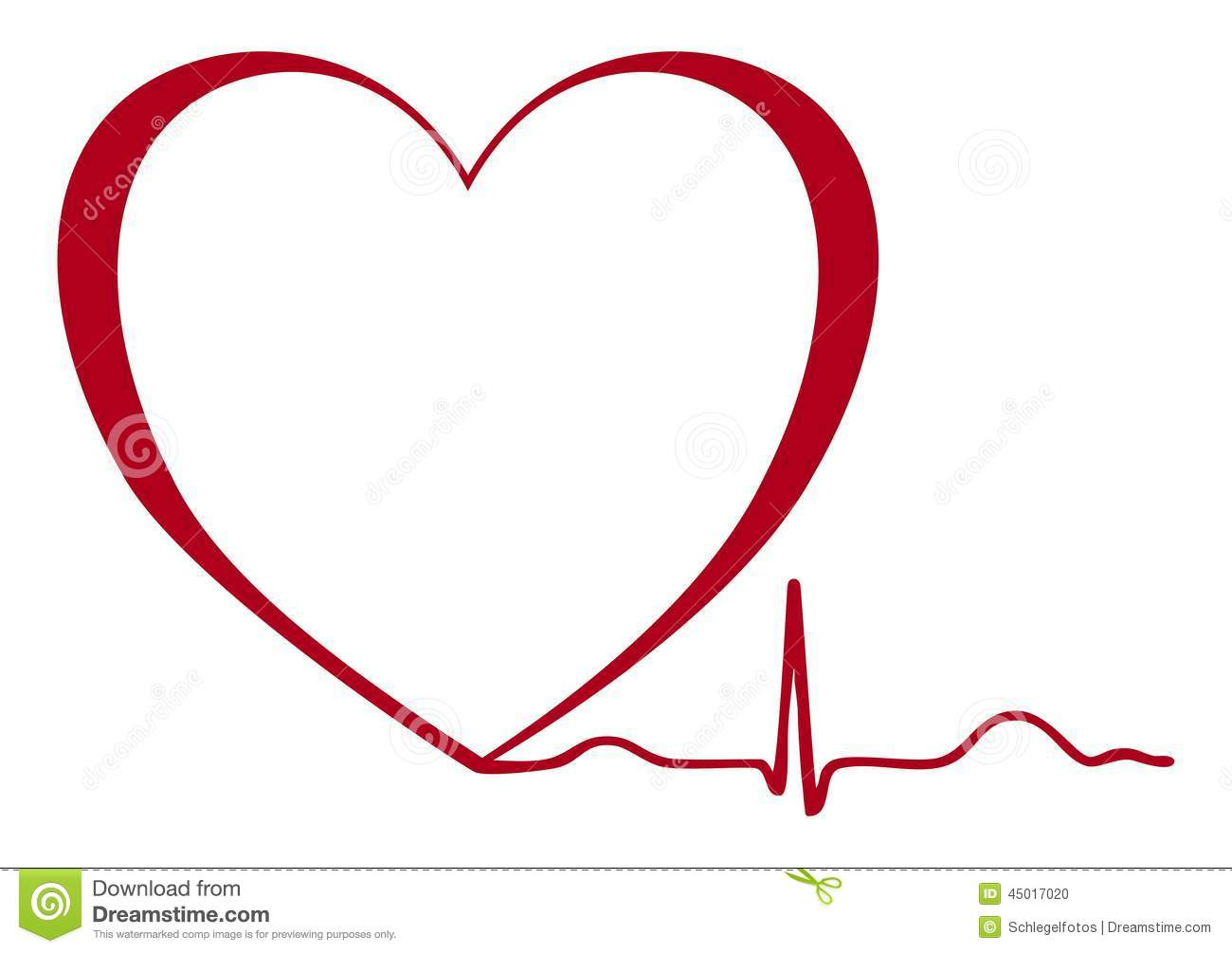 Heart Ekg Isolated Stock Illustration - Image: 45017020