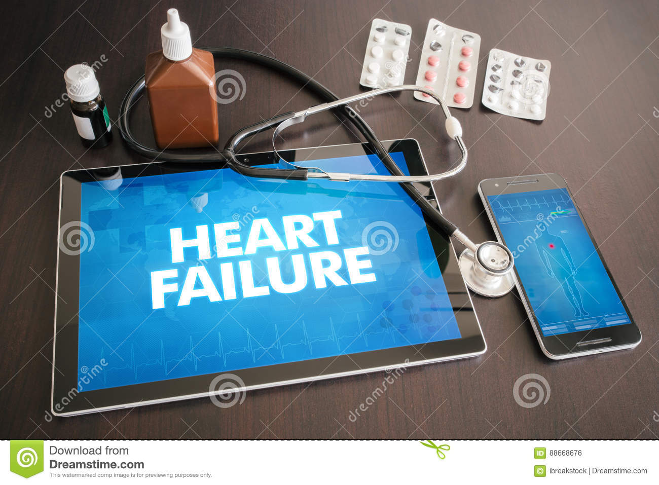 Heart failure (cardiology related) diagnosis medical concept on