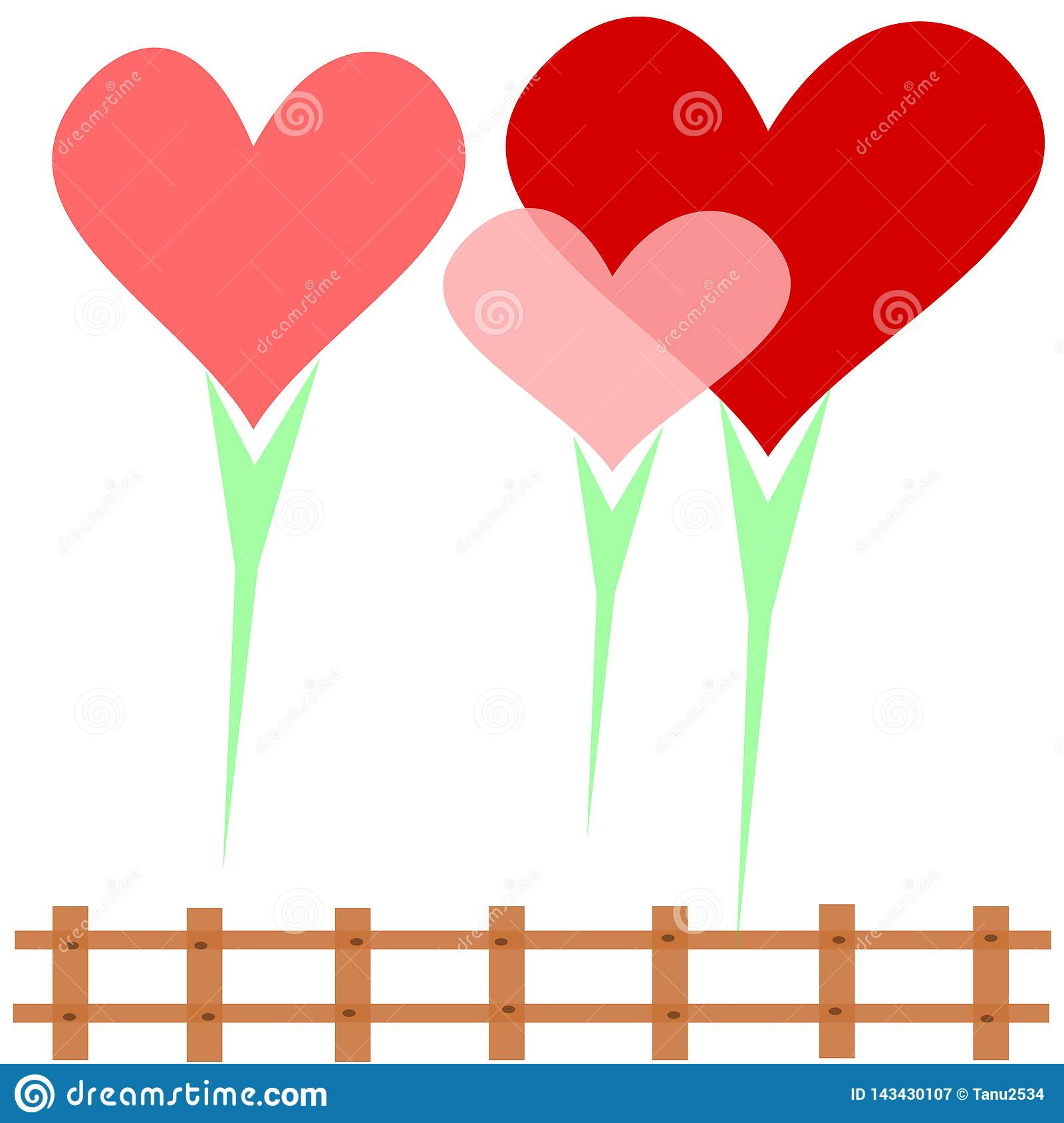 Heart family, 3 hearts surrounded by love on a white background Surrounded by a brown fence