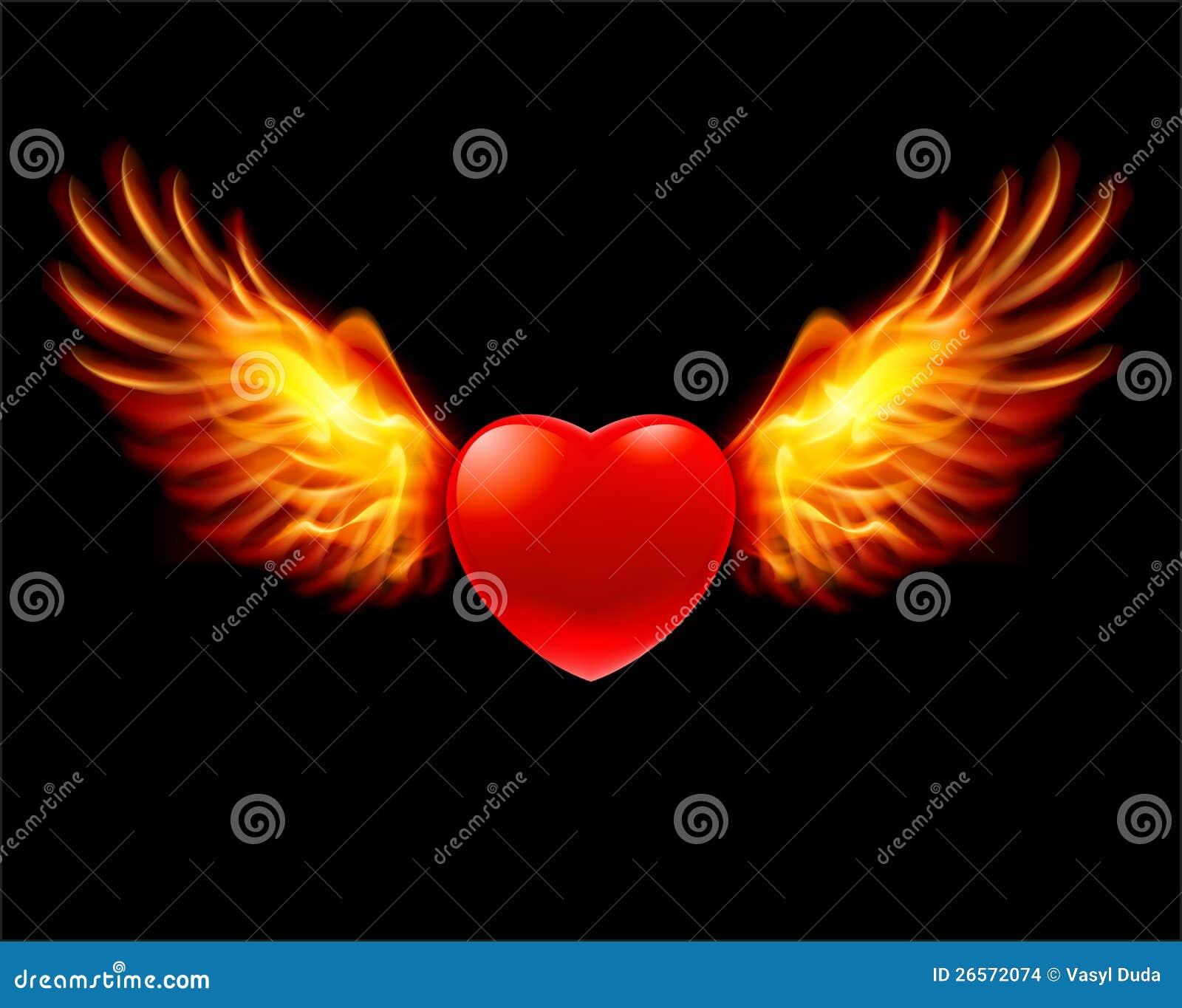 Heart In Fiery Wings Stock Vector Illustration Of