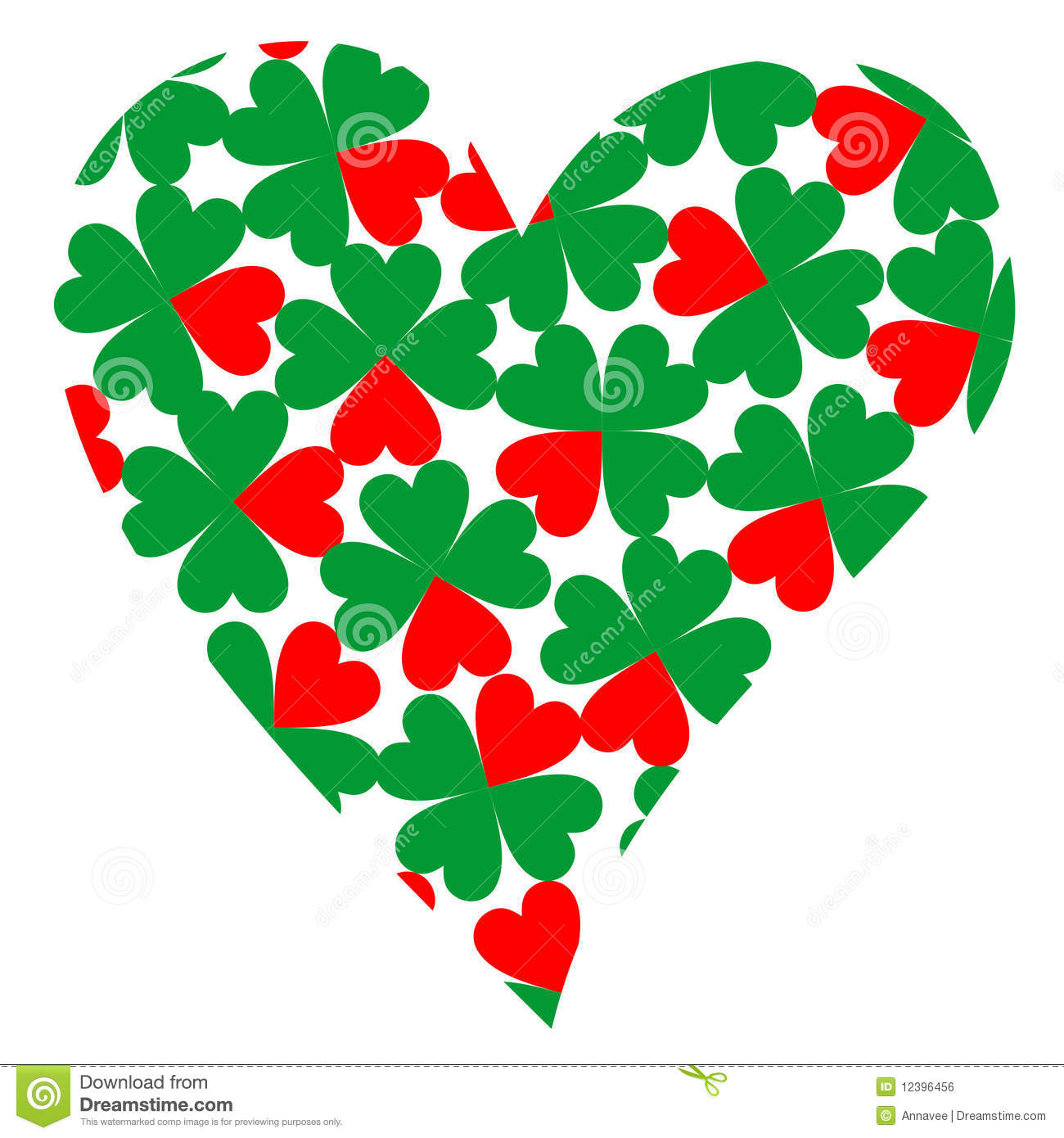 heart filled with four leaf clovers royalty free stock image