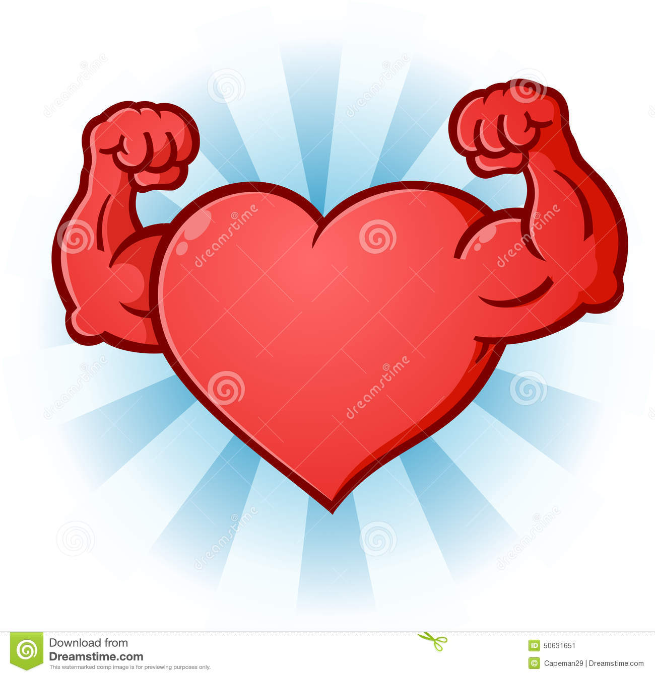 Heart Flexing Muscles Cartoon Character Stock Vector - Image: 50631651