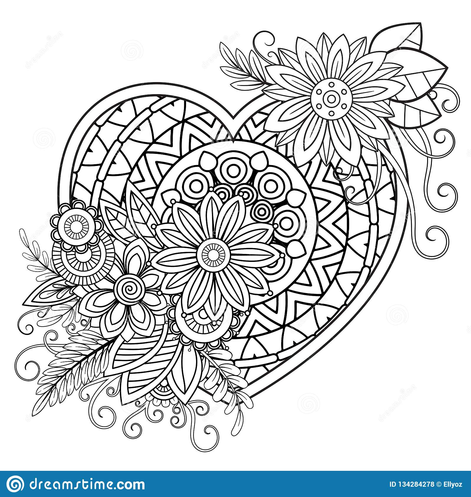 valentines day coloring page stock