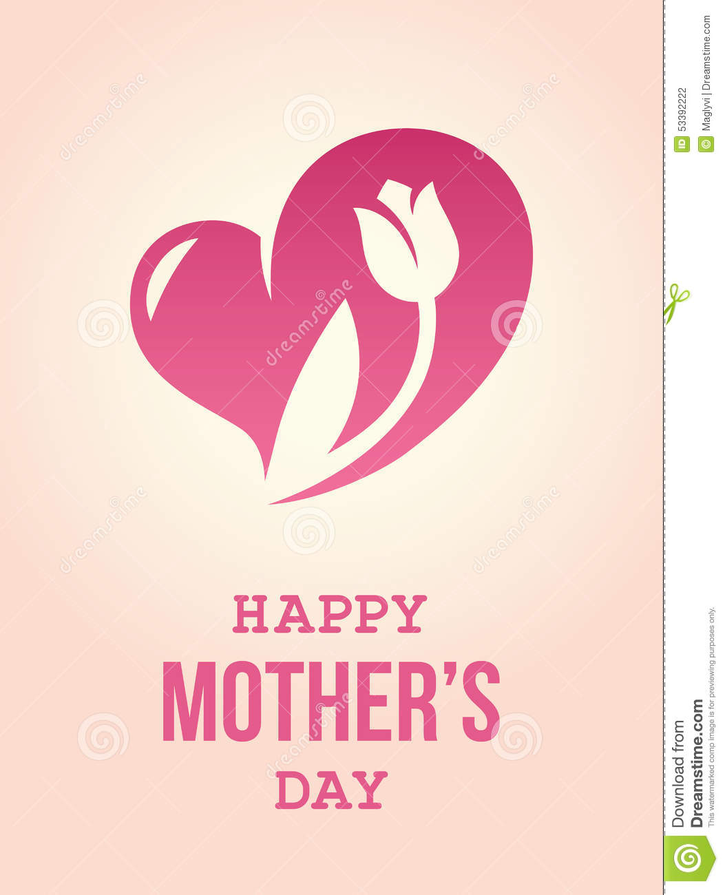 heart flowers mothers day card with flower stock vector image 53392222 6702