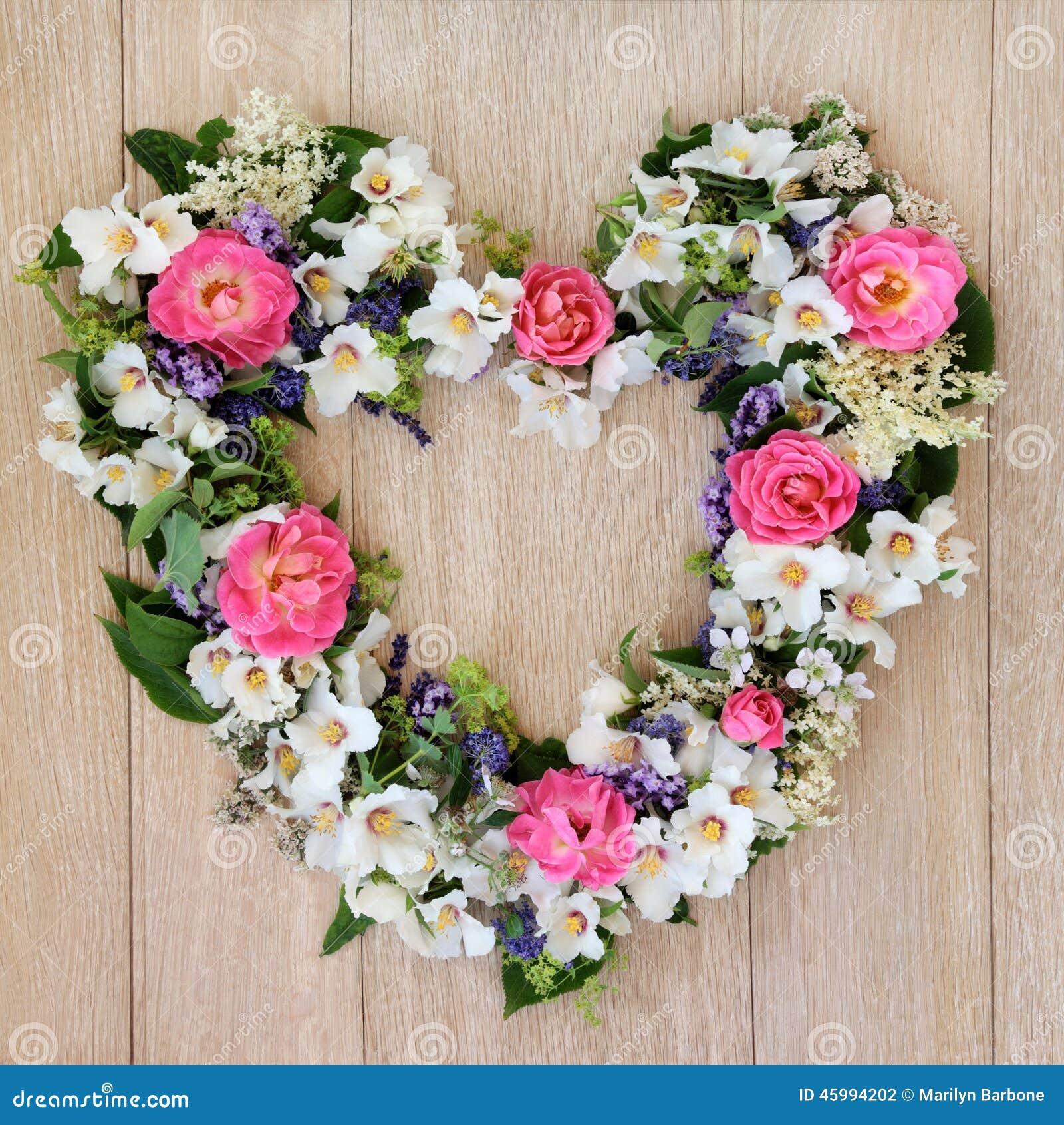 Heart Flower Wreath Stock Photo Image 45994202