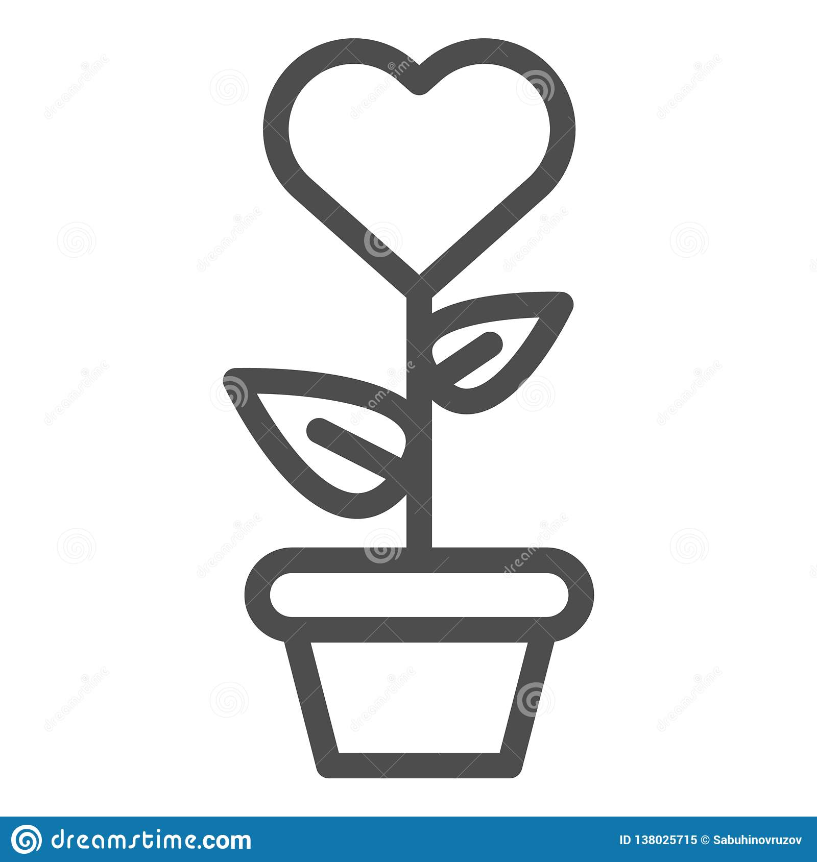 Heart in flowerpot line icon. Heart shaped flower in pot vector illustration isolated on white. Love floral outline
