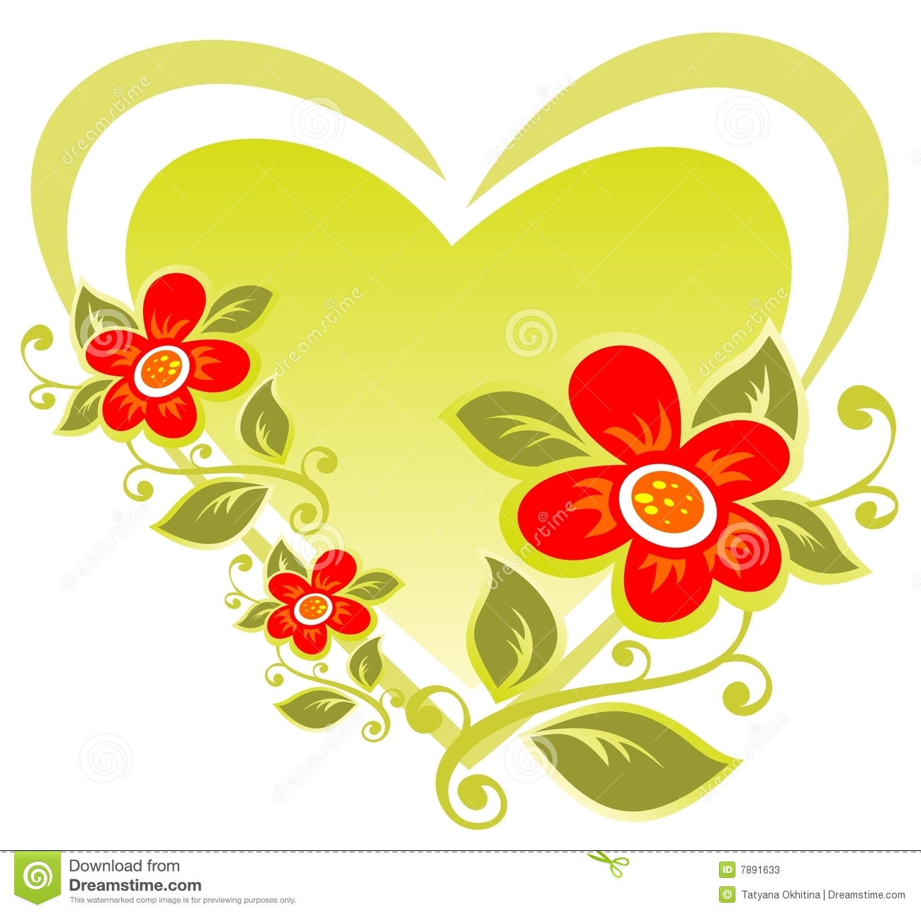 Heart And Flowers Stock s Image