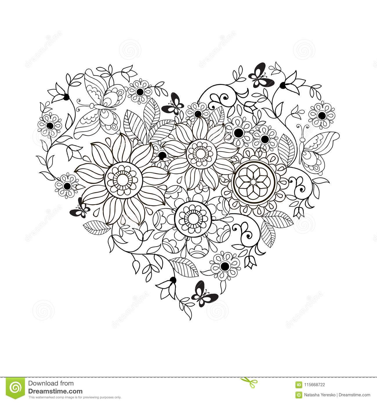 Heart Of Flowers And Butterflies For Coloring Books For Adults And ...