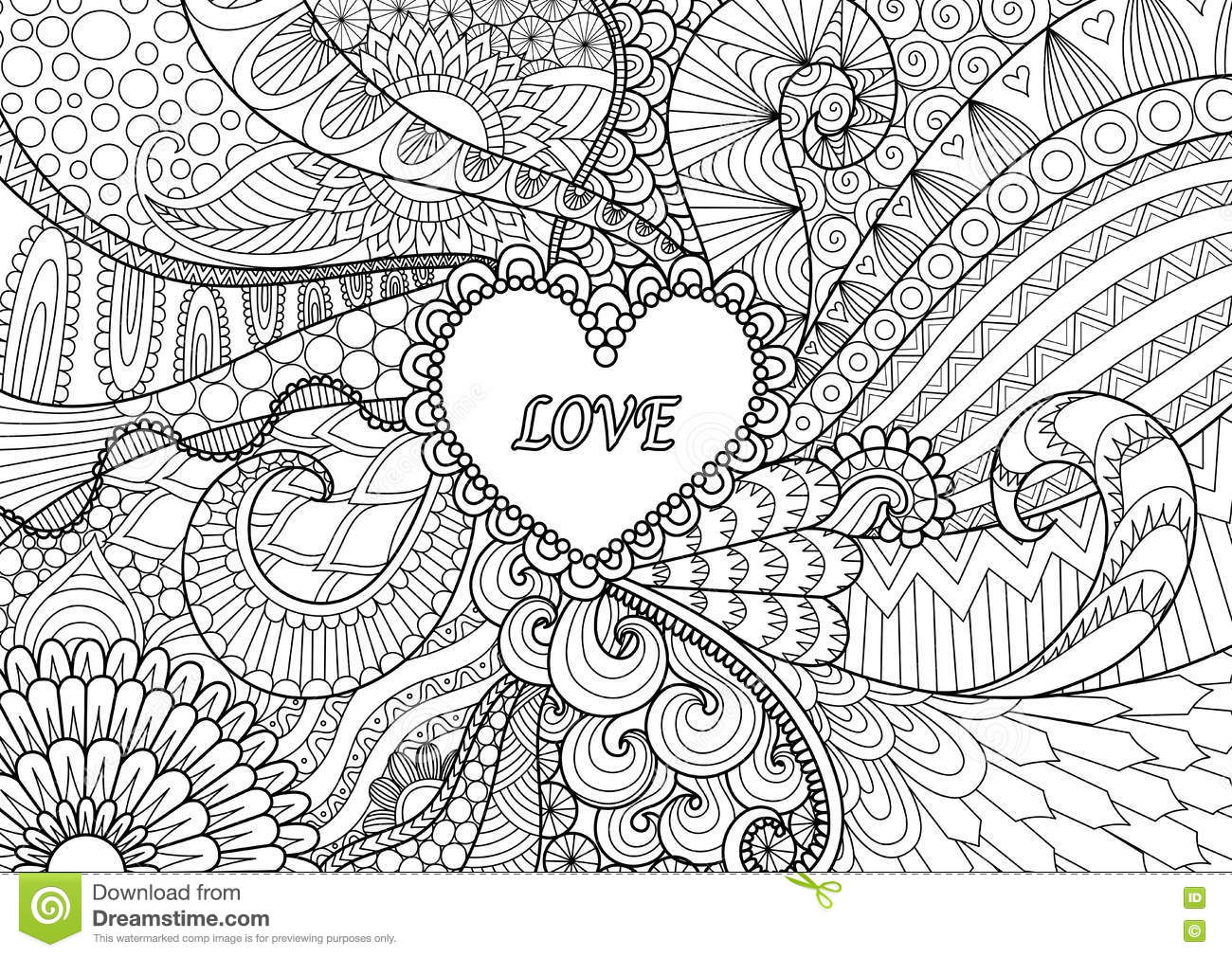 Heart On Flowers For Coloring Books For Adult Or Valentines Card ...