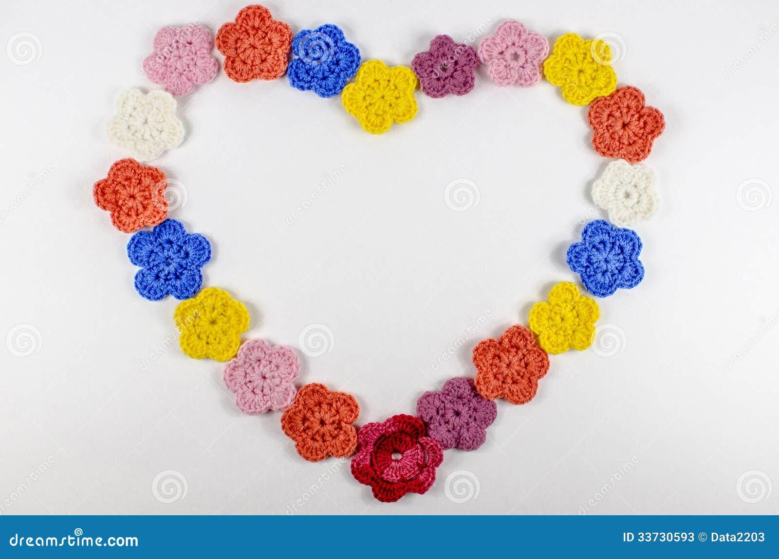 Heart of flowers crocheted of wool