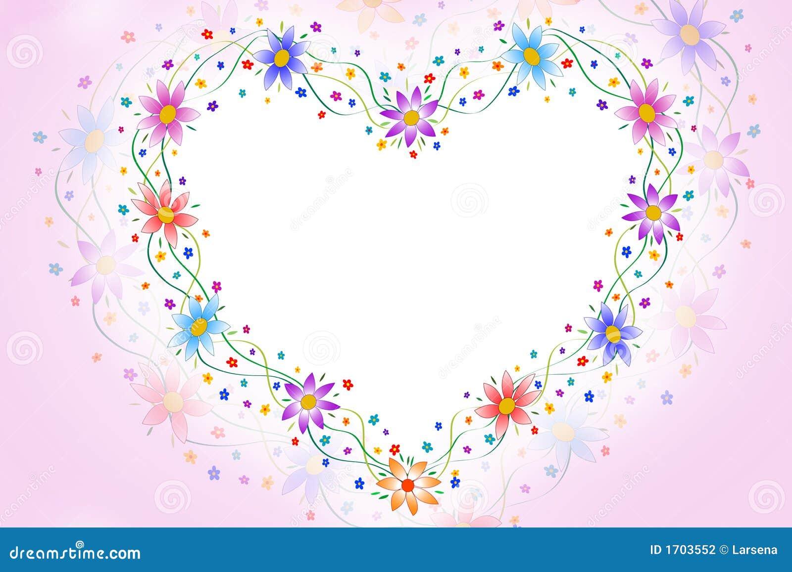 Heart flowers frame
