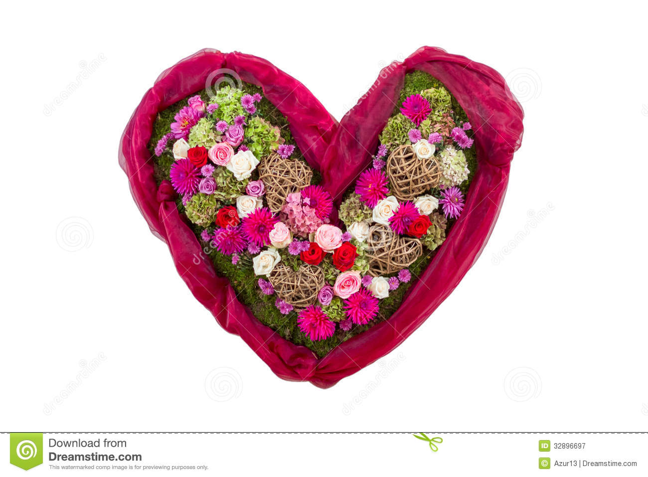Heart With Flowers Symbol Of Love Stock Image Image Of Shape