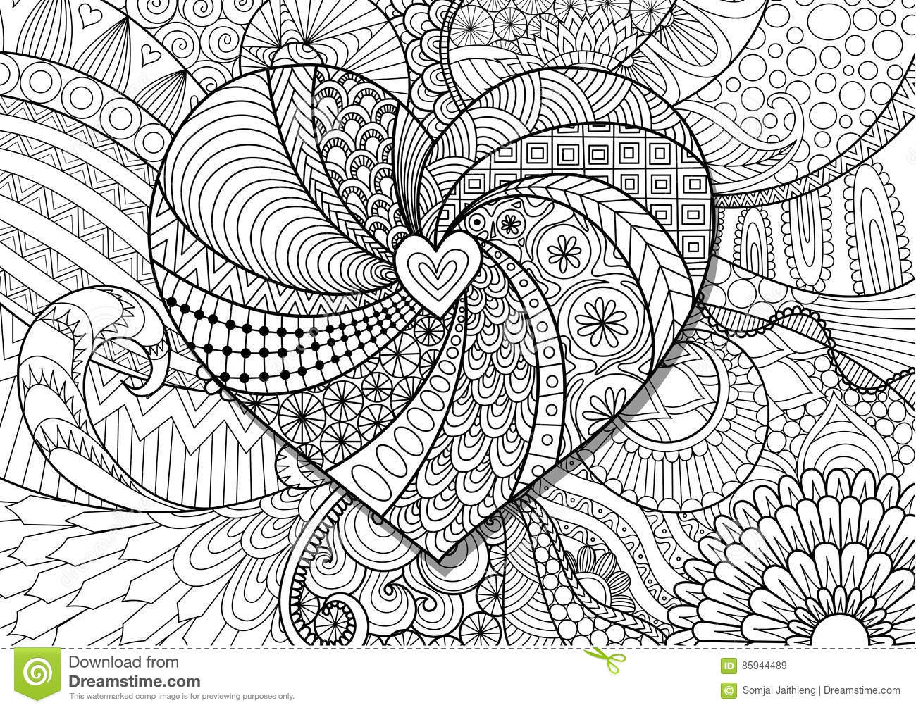 Royalty Free Vector Download Heart On Flowers Zendoodle Design For Adult Coloring Book Page