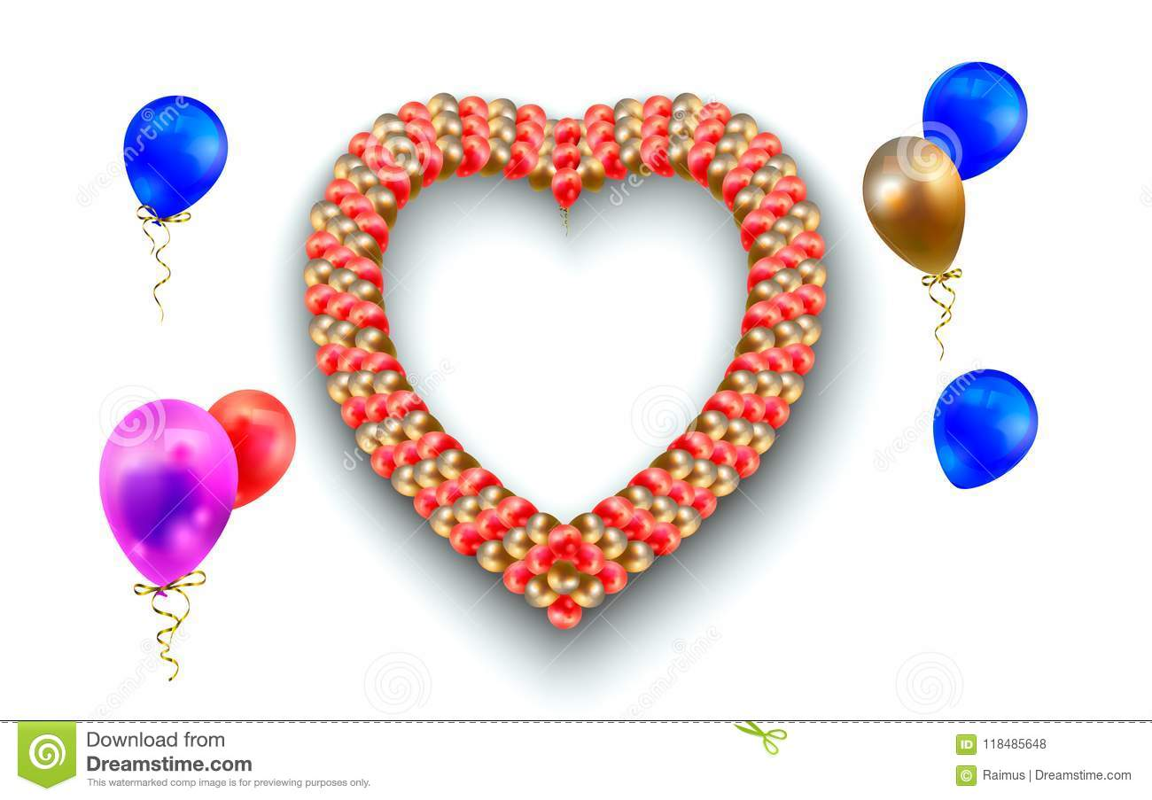 Heart Frame And Balloons On White. Illustration Of Heart-shaped ...