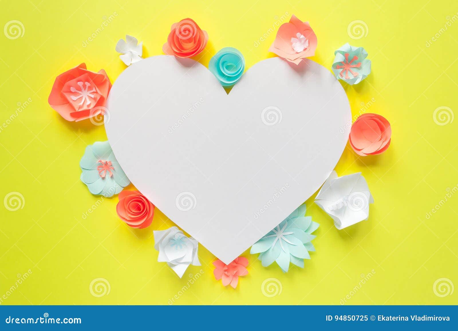 Heart Frame With Color Paper Flower Stock Illustration