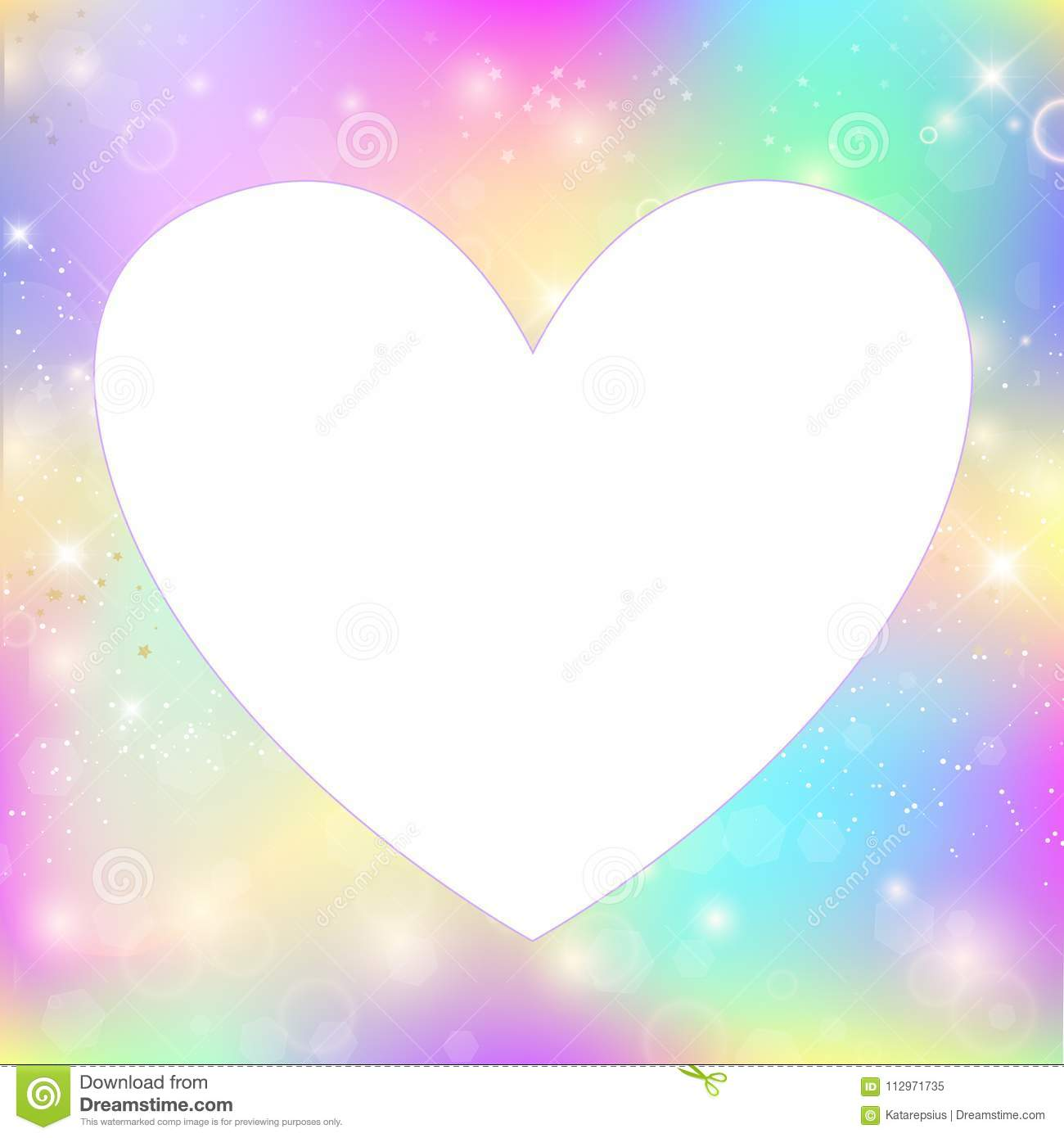 Heart Frame Magic Background With Rainbow Mesh Stock Vector ...