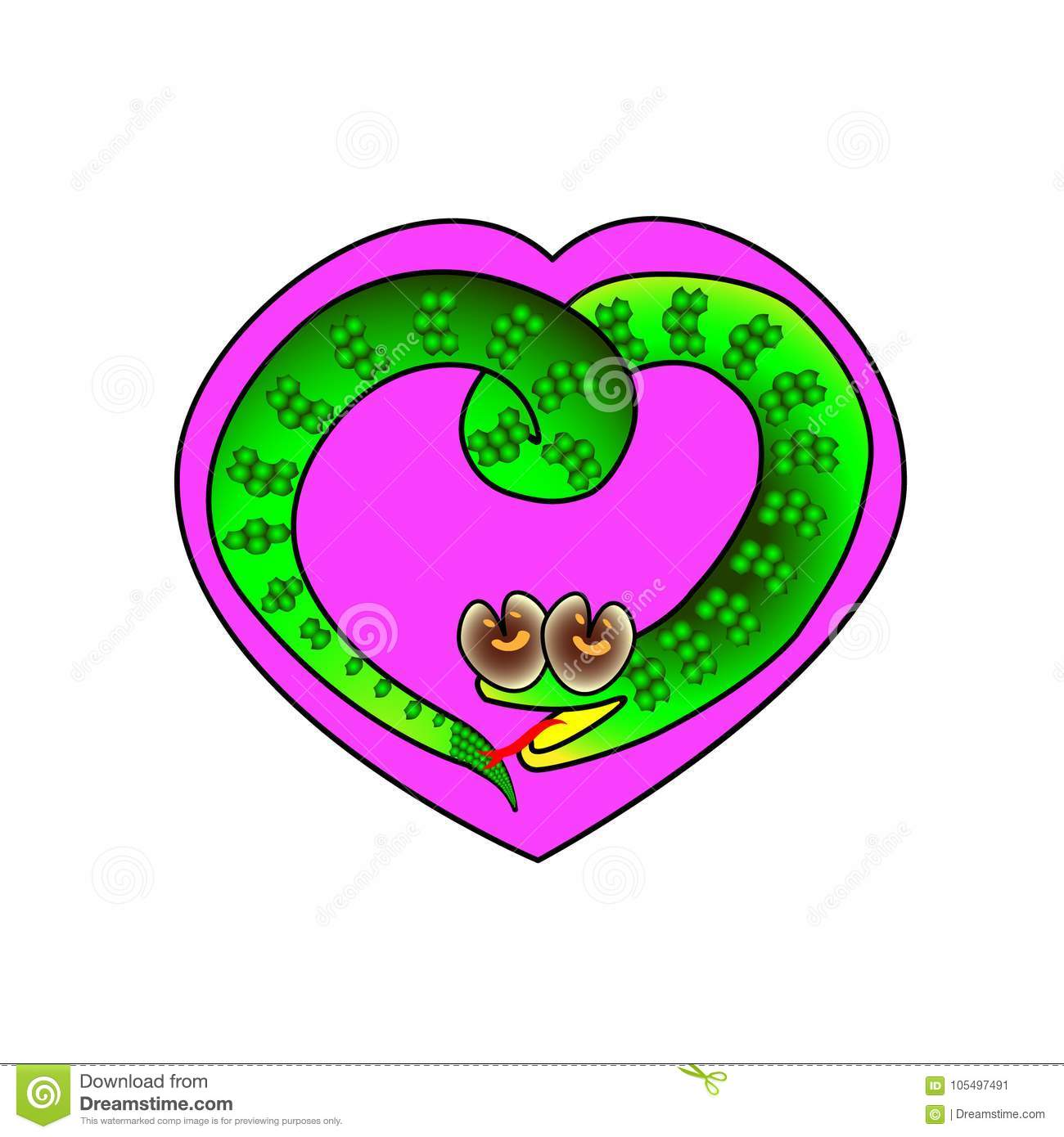 Heart Frame With A Symbol Of A Snake Surrounded Illustration Stock