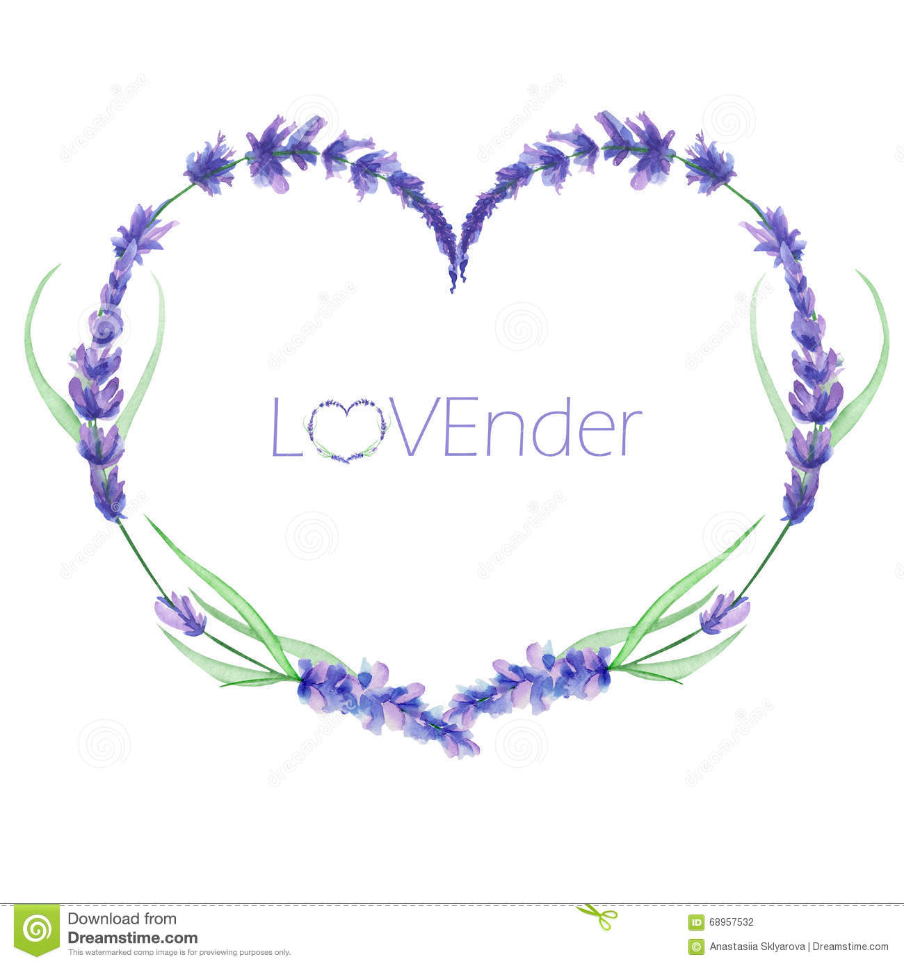 a heart frame wreath frame border with the watercolor lavender flowers wedding invitation