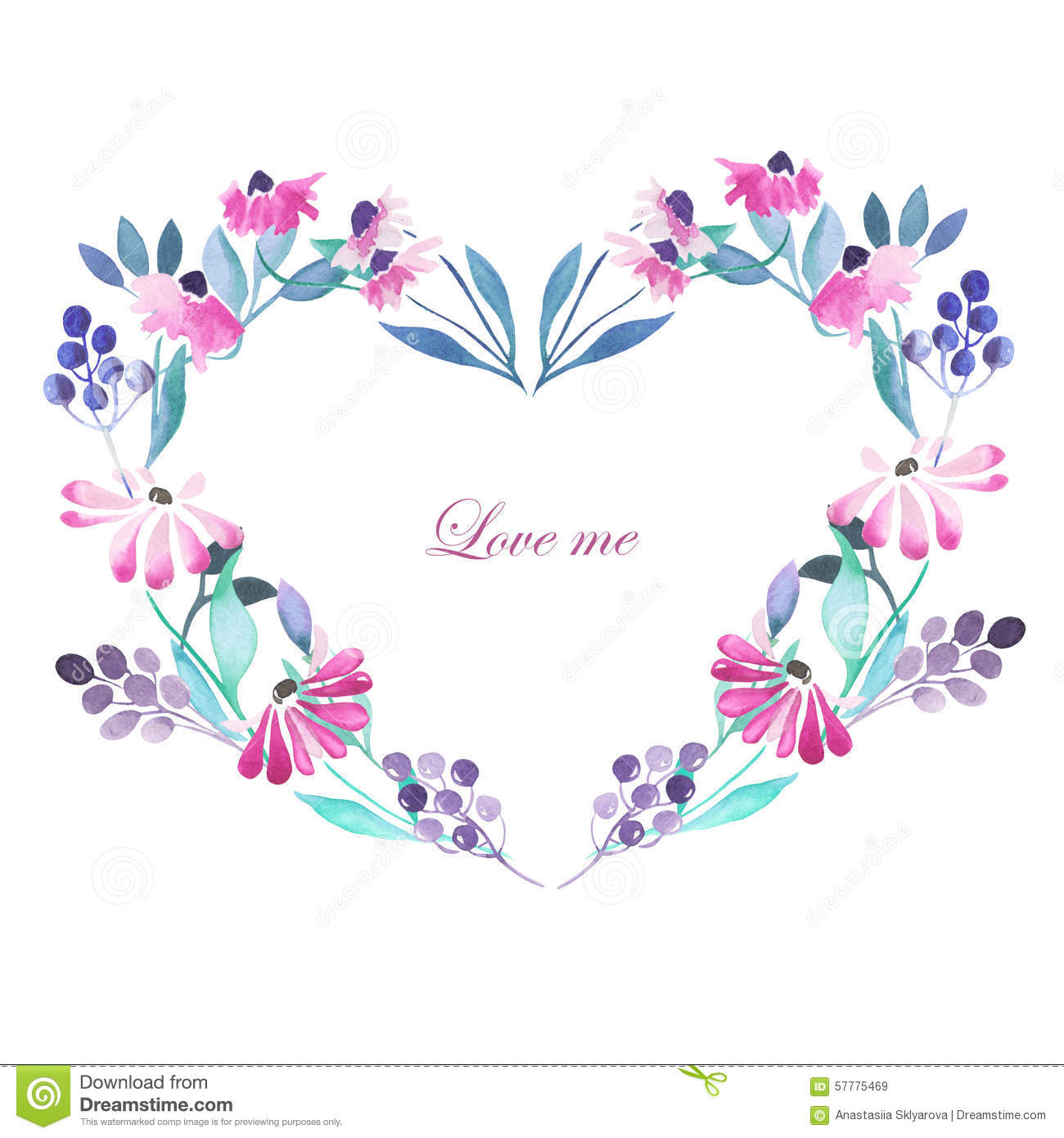 heart frame wreath of purple flowers
