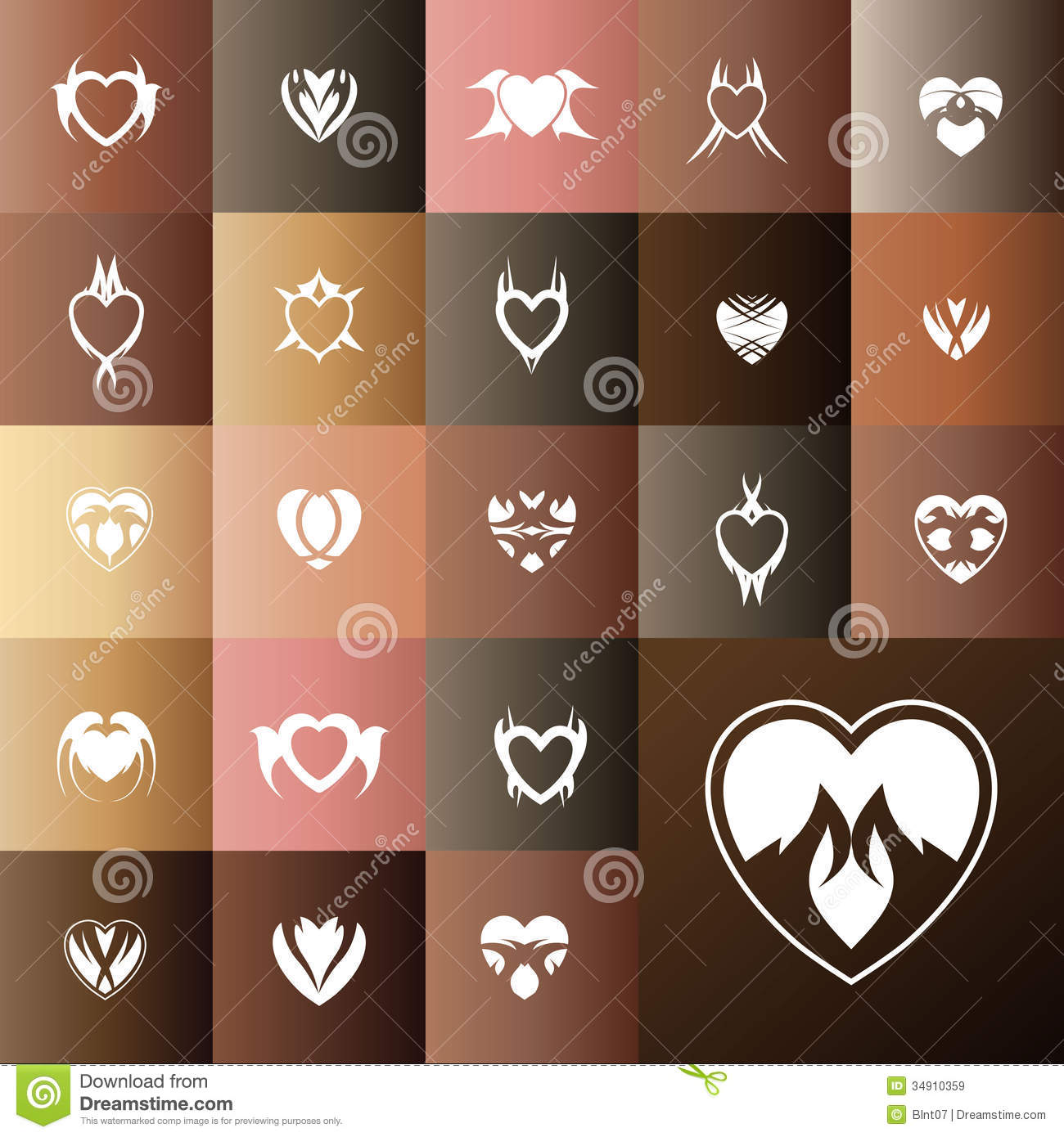 Gift Card Icon Heart gift card icon set