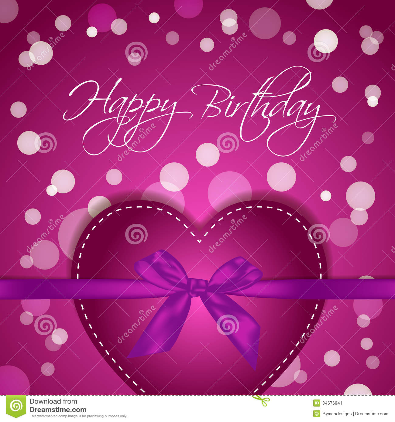 Heart Gift Greeting Card With Happy Birthday Message