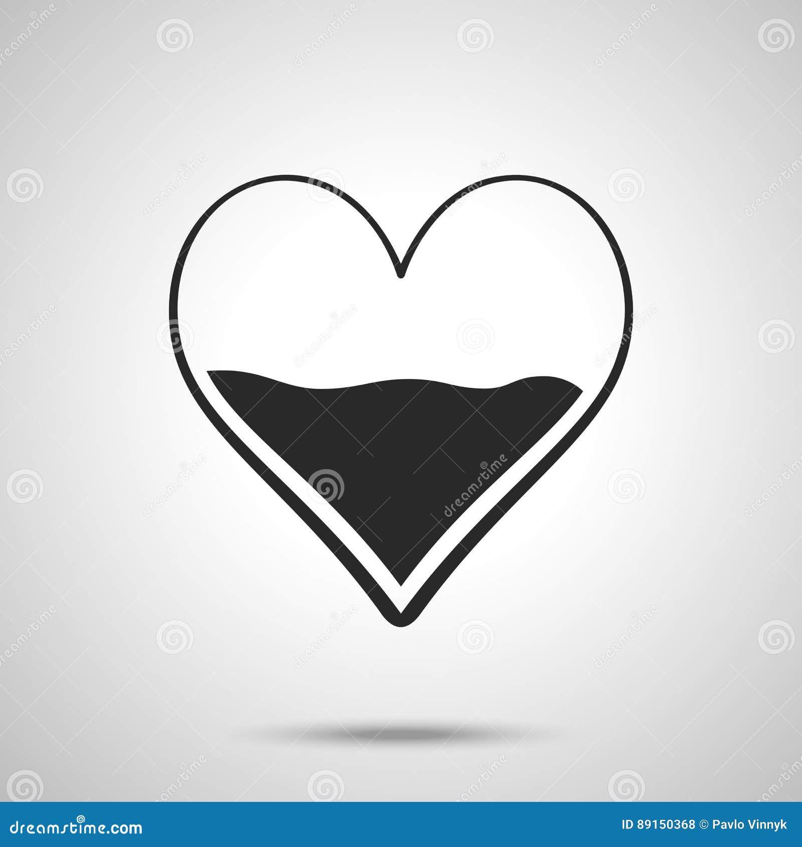 Heart Half Of Blood Icon Medicine Symbol Valentines Day Sign