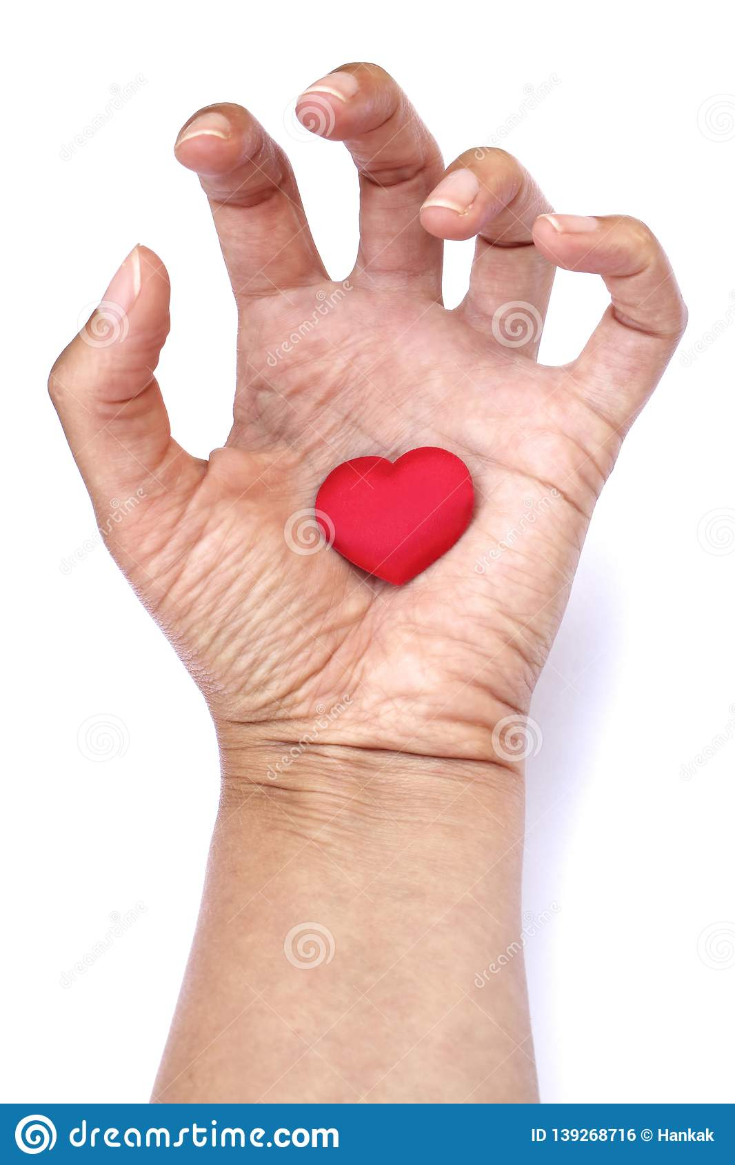 Heart in hand. Big red heart in woman´s open palm isolated on white background. Clenched fingers. Symbol of unhealthy love