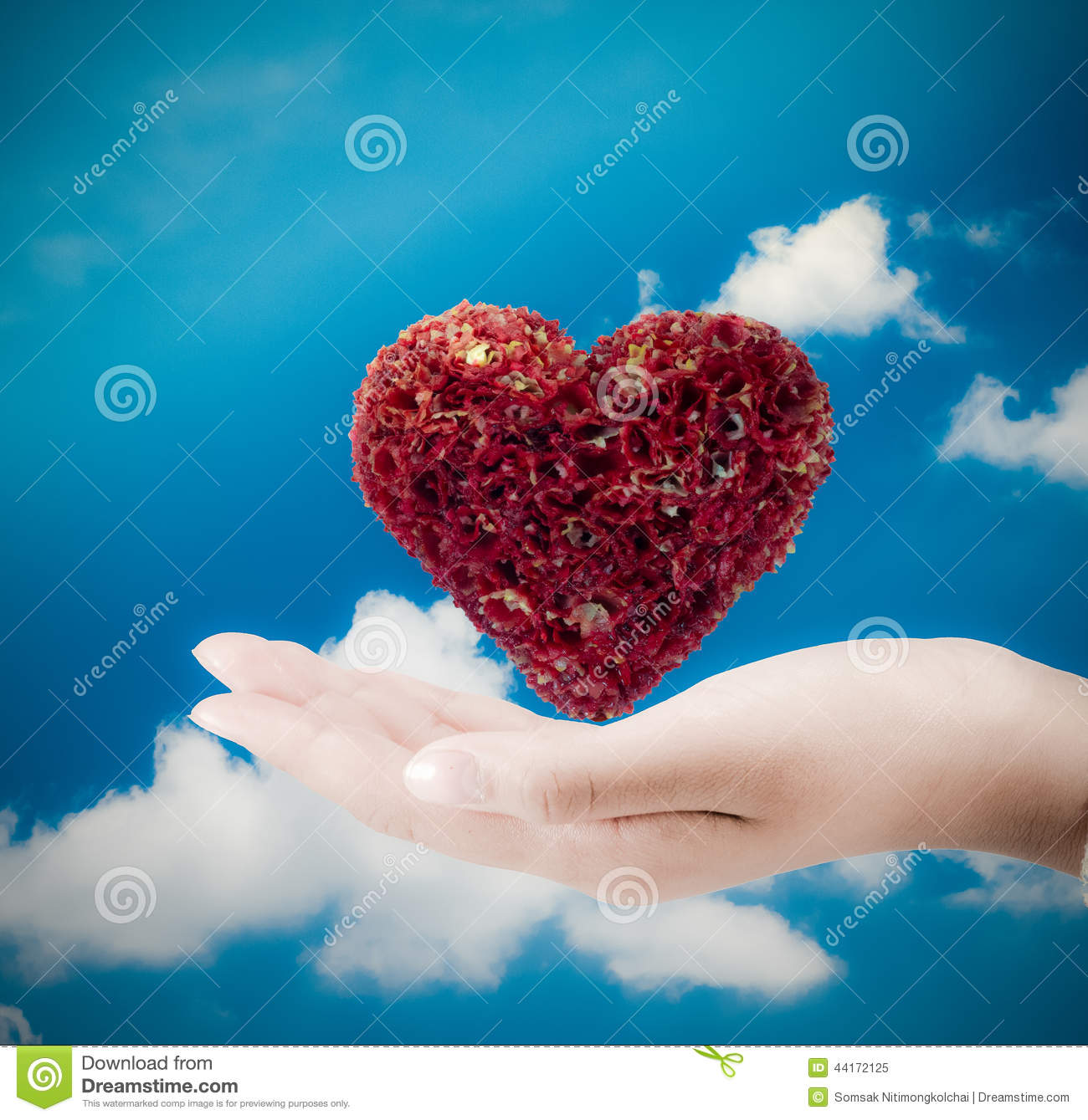 Heart on hand.Heart on the palm - love symbol