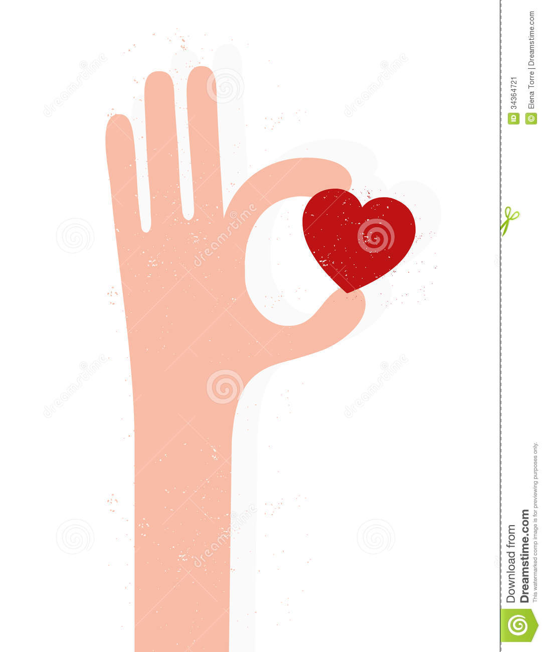 Illustration of a hand holding a red heart isolated on white ...