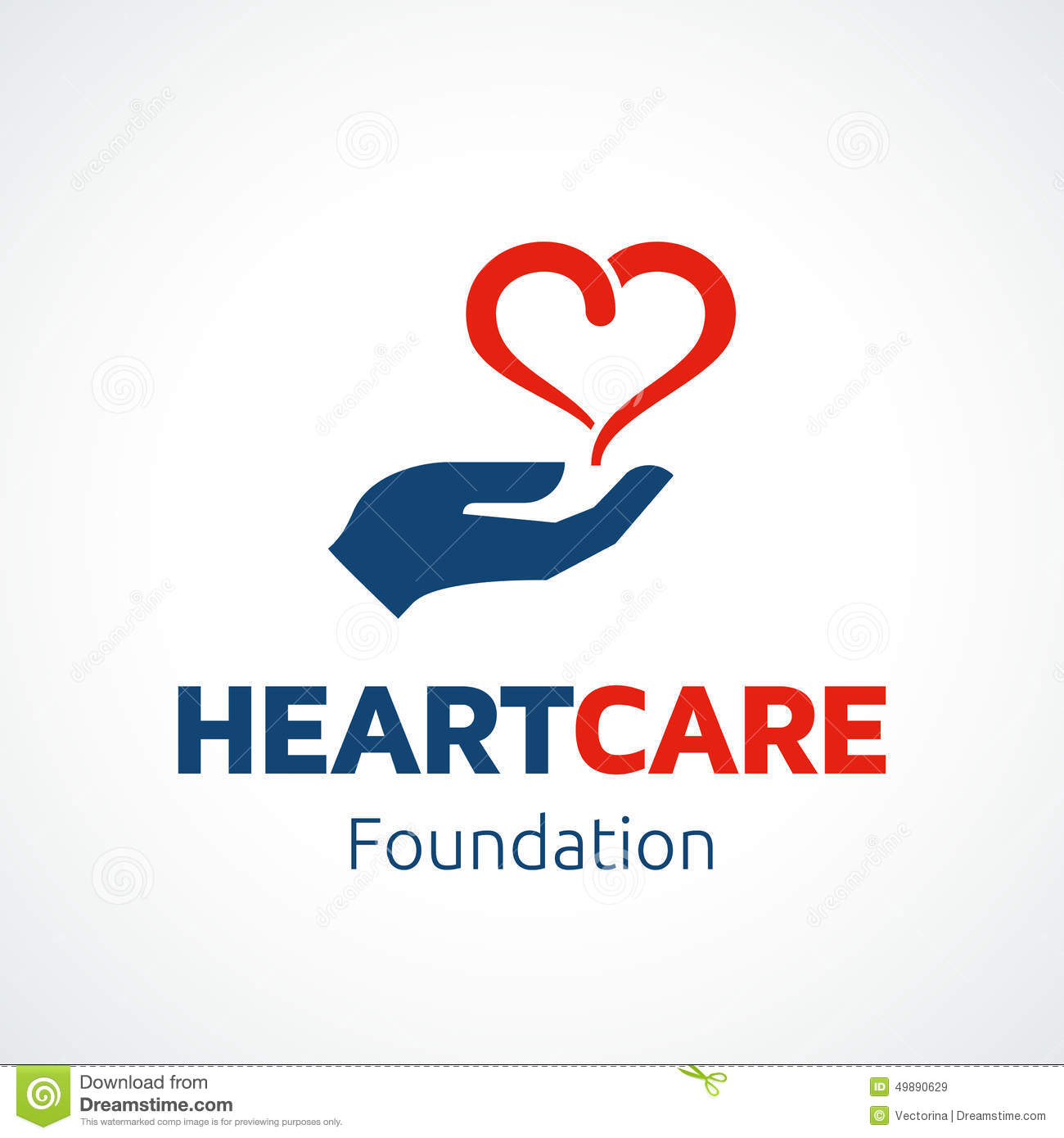 heart in hand logo template stock vector image 49890629