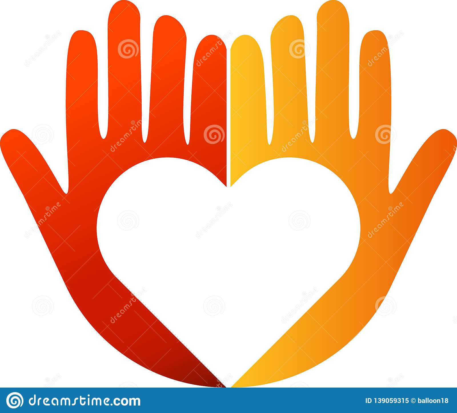 Heart In Hands Logo Stock Vector. Illustration Of Emblem